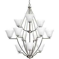 Progress Lighting Bravo Collection 12 Light Brushed Nickel Chandelier