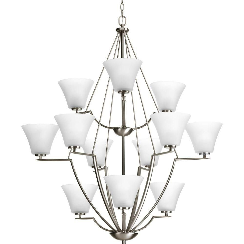 Lustre à 12 Lumières, Collection Bravo - fini Nickel Brossé
