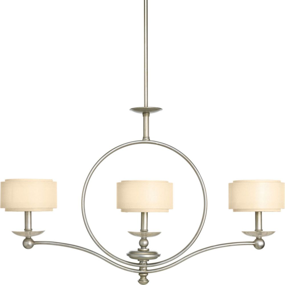 Progress Lighting Ashbury Collection 3 Light  Silver Ridge Chandelier