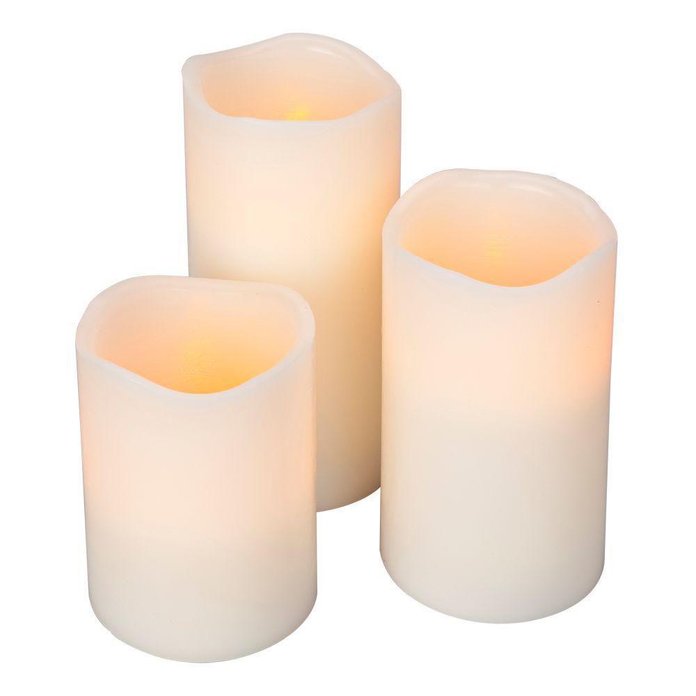 Bisque Timer Wavy Edge Pillar Candles - Set of 3