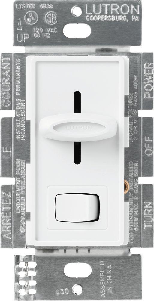 Gradateur Magnétique Unipolaire Skylark de Lutron Basse tension 450-Watts, Blanc