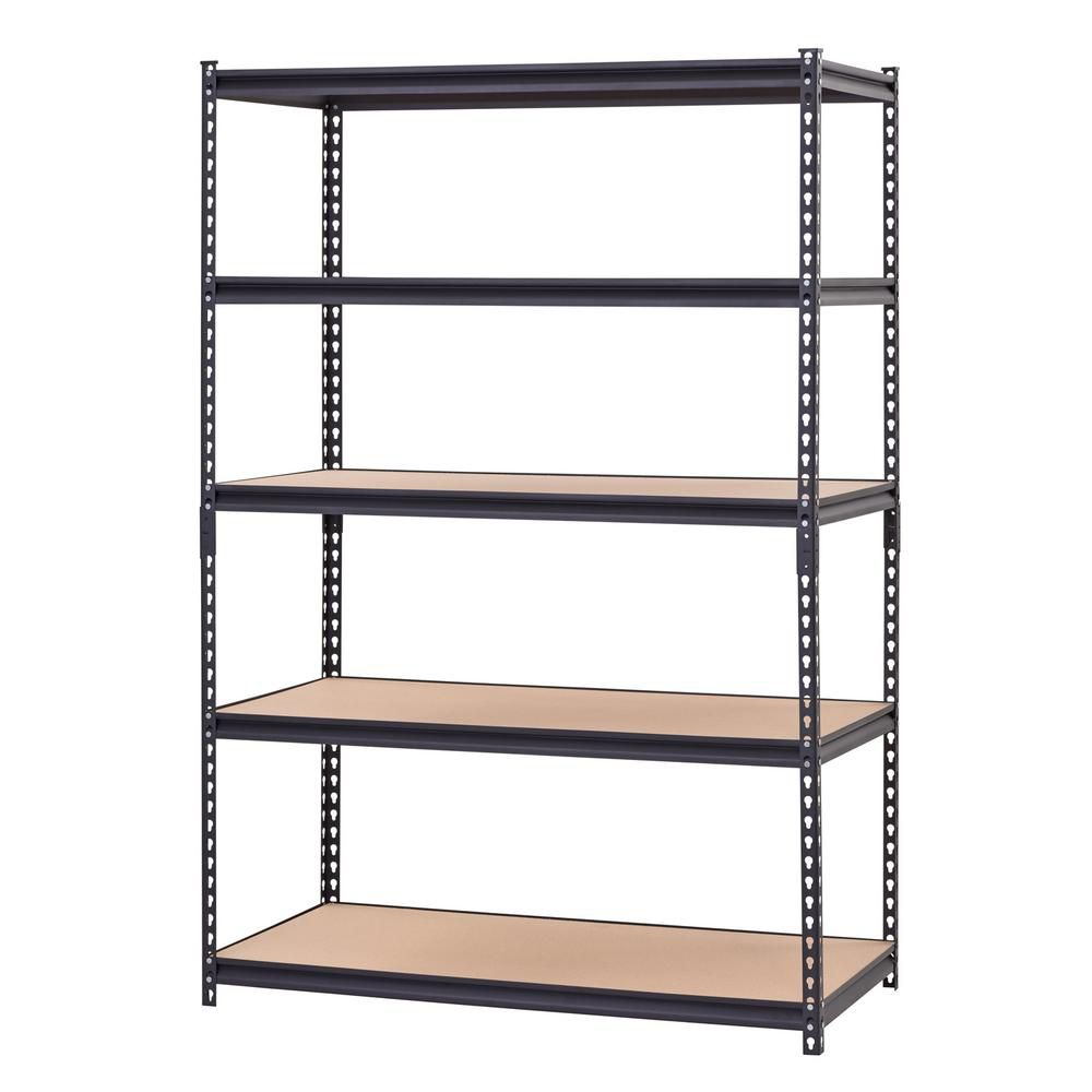 Five Level Heavy Duty Steel Shelving (48-inch W x 24-inch D) in Black