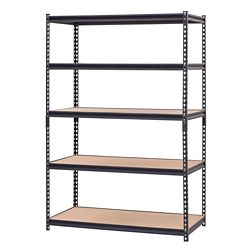 Edsal 48-inch W 5-Level Heavy Duty Steel Shelving Unit in Black