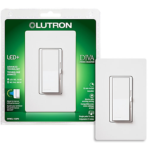 Diva Single Pole/3-Way CFL & LED Dimmer in White