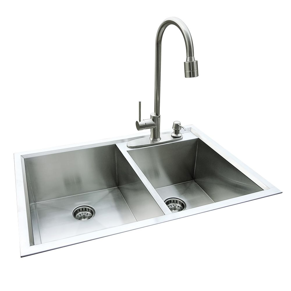 Dual Mount 31.5 In. x 20.5 In. x 10 In. Super Deep Fully Welded Offset Bowl Kitchen Sink in Stainless Steel QK002 Canada Discount