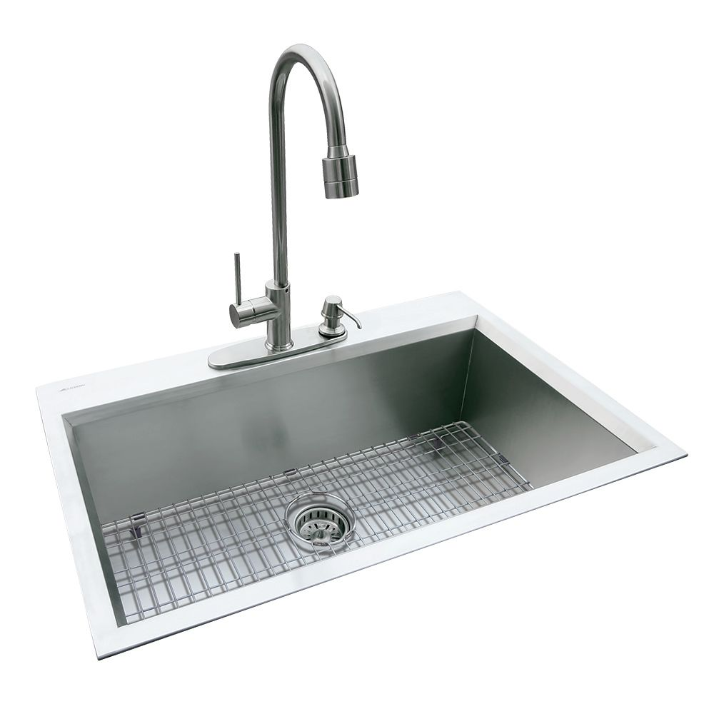 Dual Mount 31.5 In. x 20.5 In. x 10 In. Super Deep Fully Welded Single Bowl Kitchen Sink in Stain...