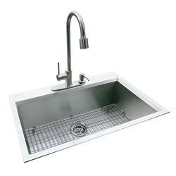 GLACIER BAY Dual Mount 31.5-inch x 20.5-inch x 10-inch Deep Welded Single Bowl Kitchen Sink in Stainless Steel