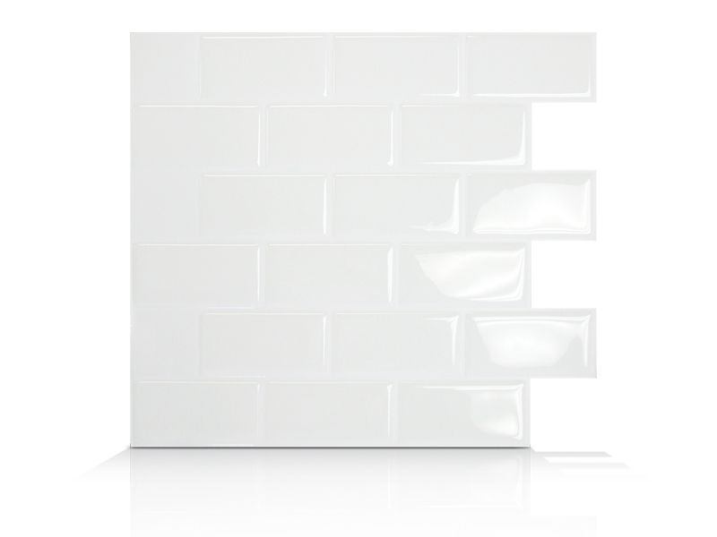 6 - Piece 9.75 Inch x 10.96 Inch Peel and Stick White Mosaik