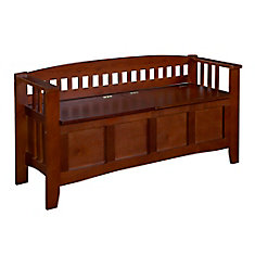 50 Inch Slat Back Storage Bench With Split Seat