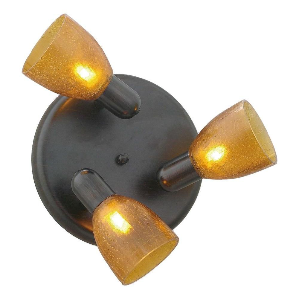 Eglo Benita 1 Ceiling Light-3L, Oil Rubbed Bronze with Amber Crackle Glass