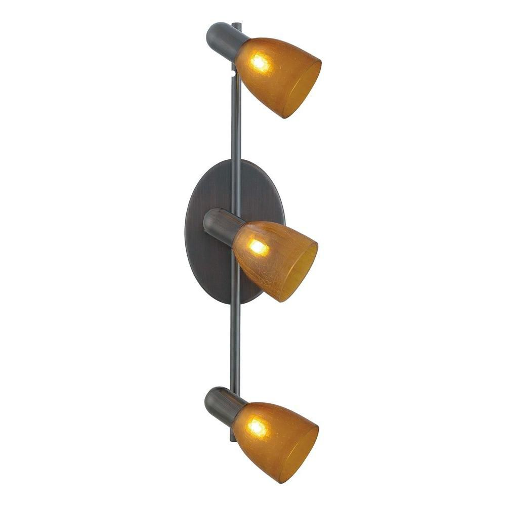 Benita 1 Track Light-3L, Oil Rubbed Bronze with Amber Crackle Glass