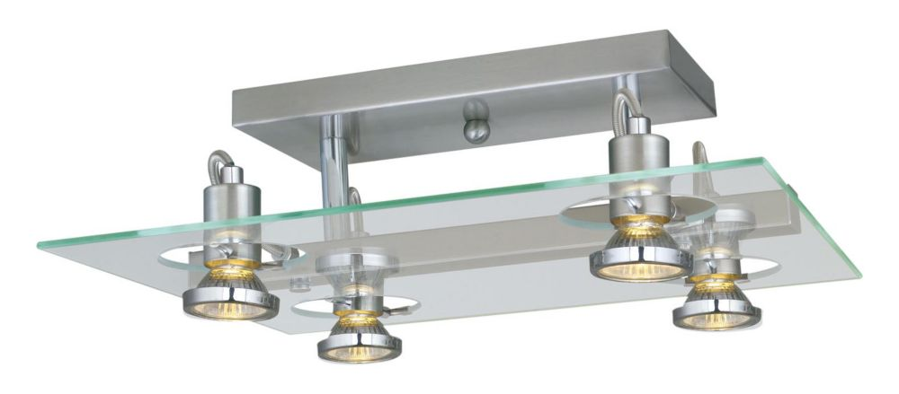 Focus Ceiling Light-4 Light, Matte Nickel with Chrome Accents