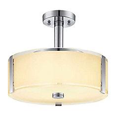 13.75-inch 3-Light Polished Chrome Semi-Flushmount Ceiling Light with White Glass Shade