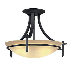20-inch 3-Light Old Weathered Bronze Semi-Flushmount Ceiling Light with Alabster Glass Shade