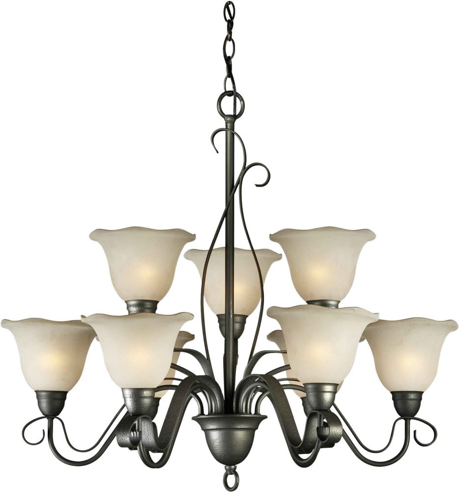 Burton 9 Light Ceiling Natural Iron  Incandescent Chandelier