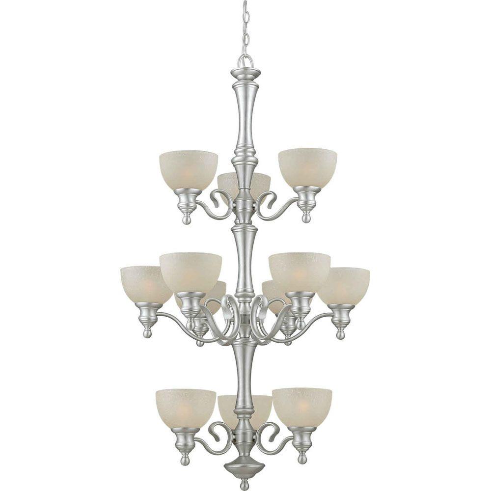 Burton 12 Light Ceiling Brushed Nickel  Incandescent Chandelier