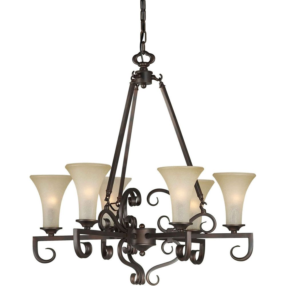 Filament Design Burton 6 Light Ceiling Antique Bronze  Incandescent Chandelier