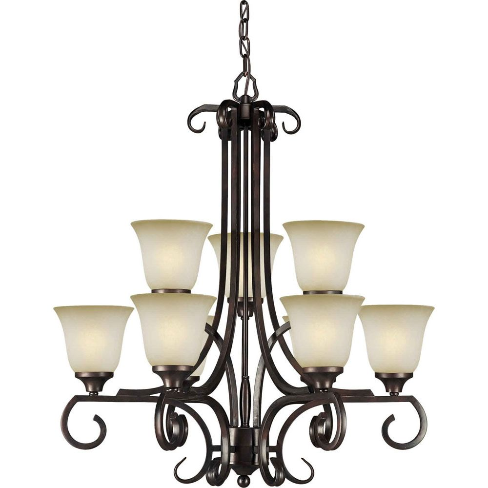 Burton 9 Light Ceiling Antique Bronze  Incandescent Chandelier