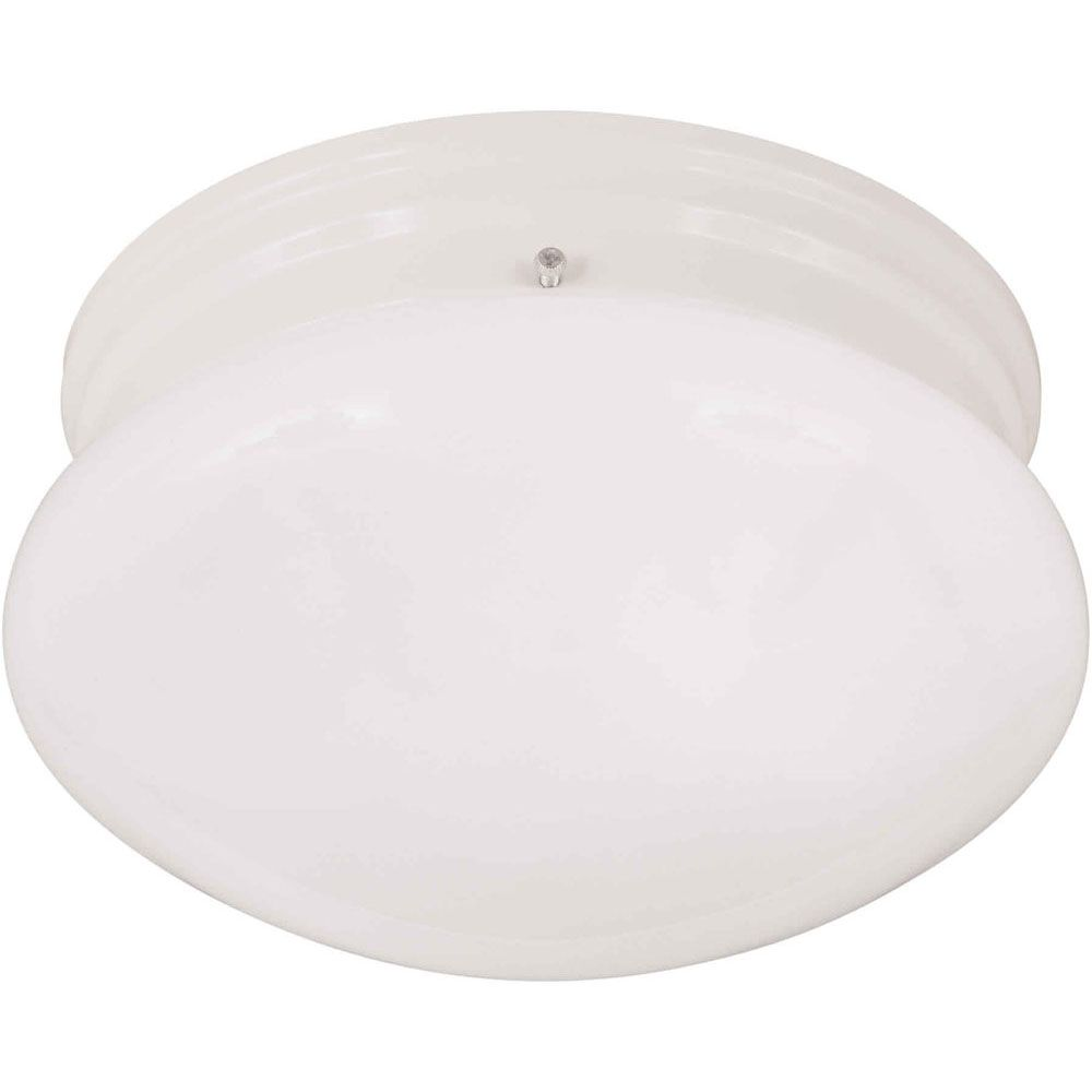 Filament Design Burton 1 Light Ceiling White  Compact Fluorescent Lighting  Flush Mount