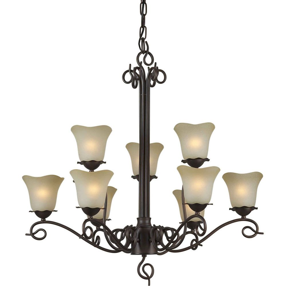 Burton 9-Light Ceiling Antique Bronze Chandelier