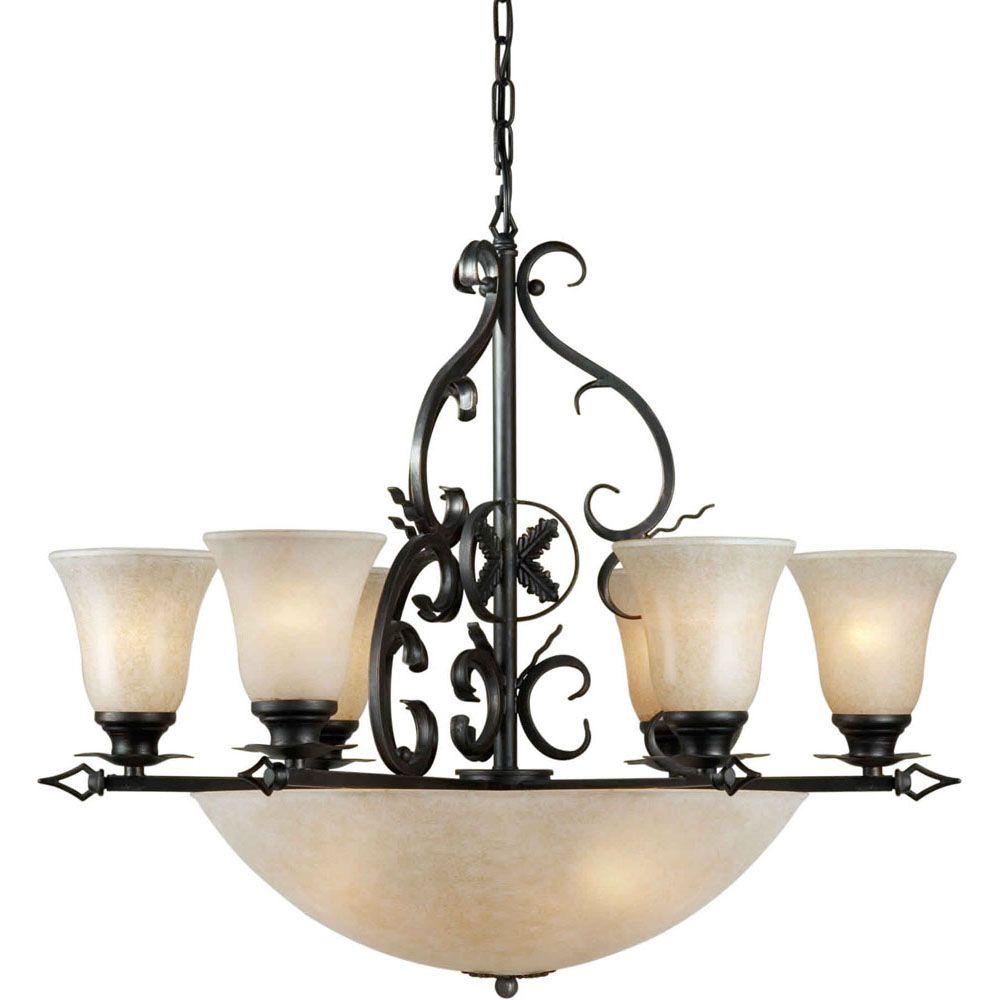 Burton 10 Light Ceiling Bordeaux  Incandescent Chandelier