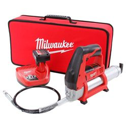Milwaukee Tool M12 12-Volt Lithium-Ion Cordless Grease Gun Kit with (1) 3.0 Ah Battery, Charger and Tool Bag