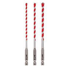 3-Piece 3-Flat Secure-Grip Hammer Drill Bit Set