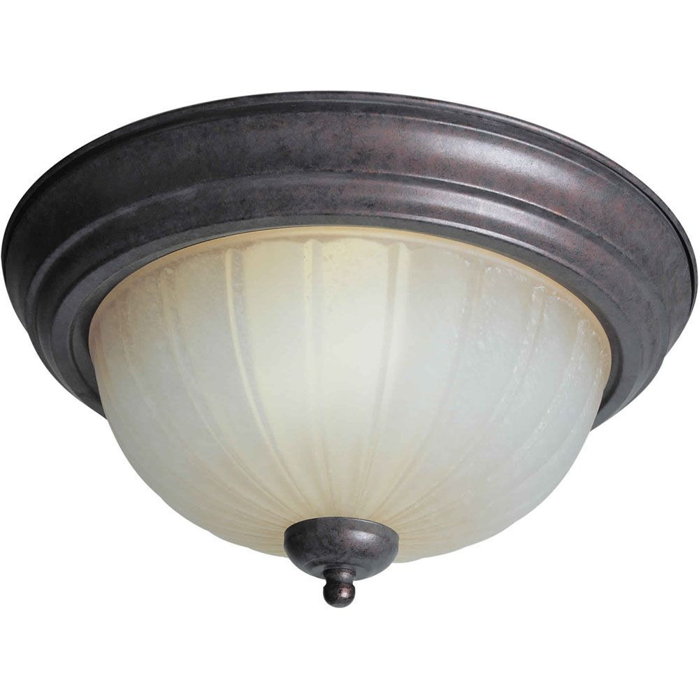 Burton 2 Light Ceiling Black Cherry  Compact Fluorescent Lighting  Flush Mount