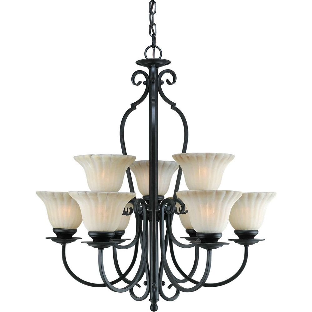 Burton 9-Light Ceiling Bordeaux Chandelier