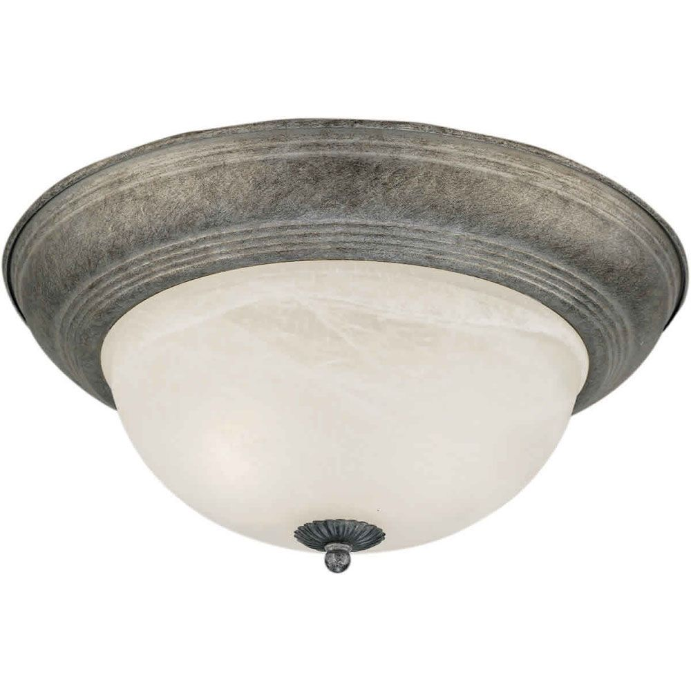Filament Design Burton 2-Light Ceiling River Rock Flush Mount