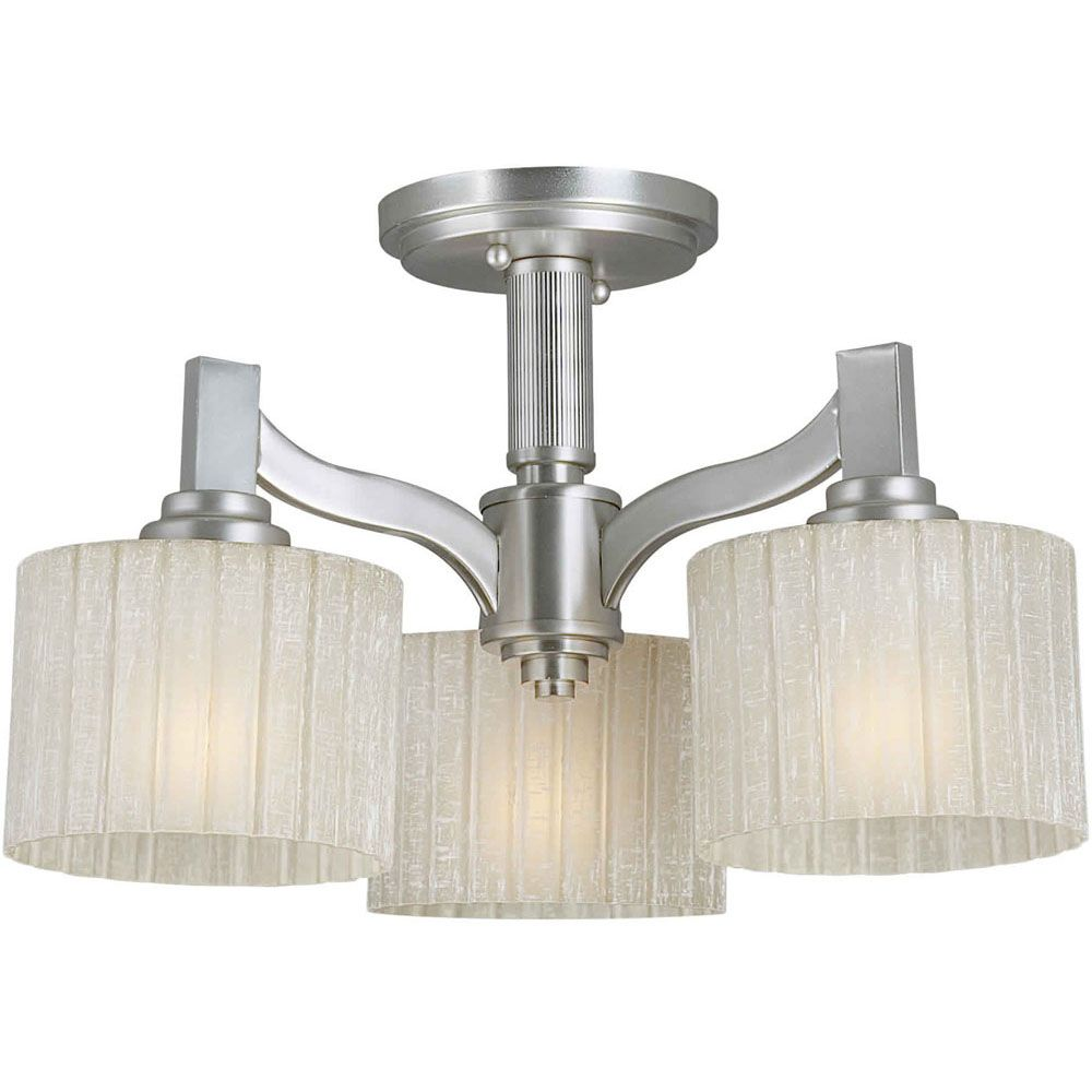 Burton 3-Light Ceiling Brushed Nickel Semi Flush Mount