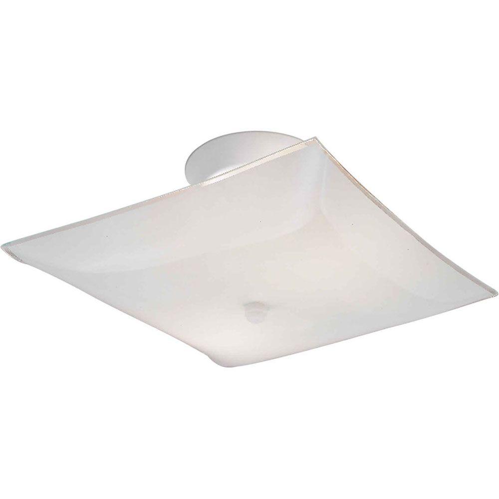 Burton 2 Light Ceiling White  Incandescent Semi Flush Mount