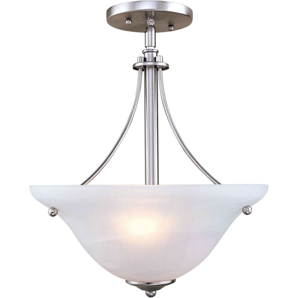Burton 2-Light Ceiling Brushed Nickel Semi Flush Mount