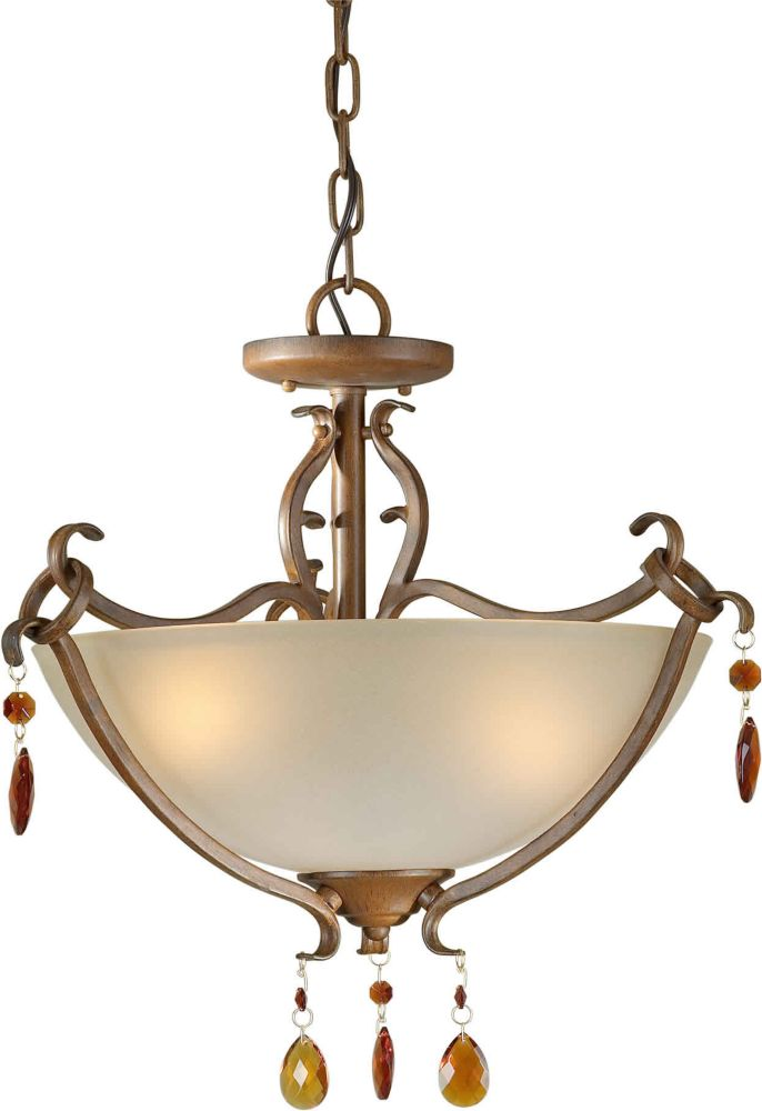 Burton 3-Light Ceiling Rustic Sienna Semi Flush Mount