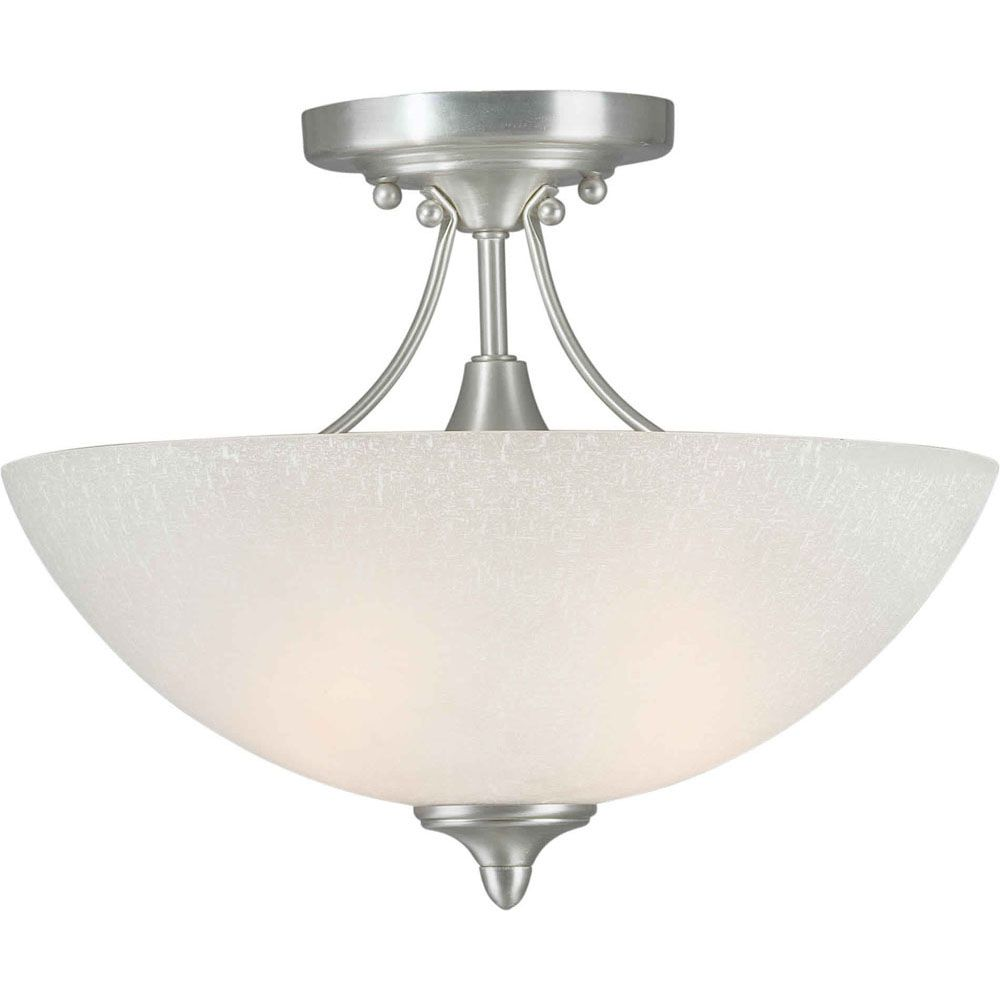 Burton 2 Light Ceiling Brushed Nickel  Incandescent Semi Flush Mount