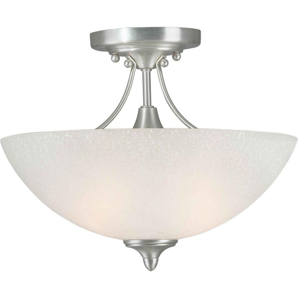 Filament Design Burton 2-Light Ceiling Brushed Nickel Semi Flush Mount