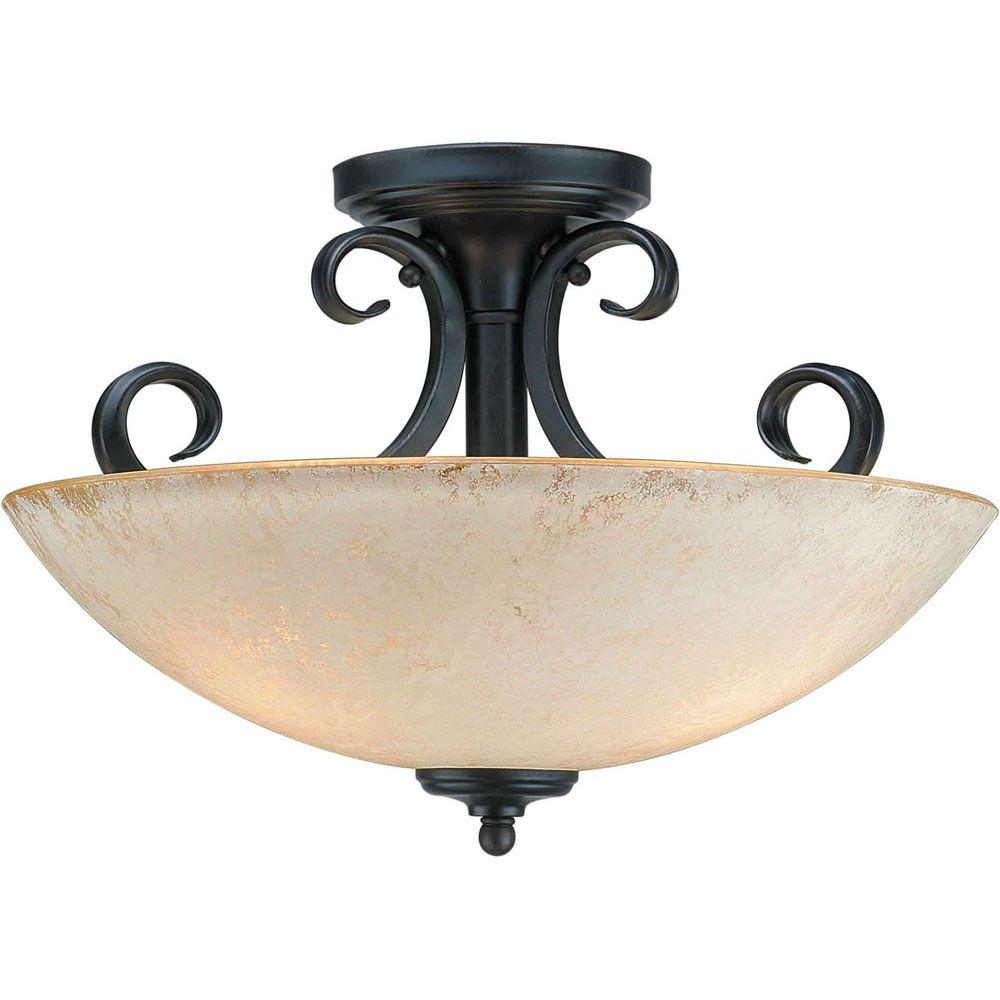 Burton 3-Light Ceiling BordeauxSemi Flush Mount