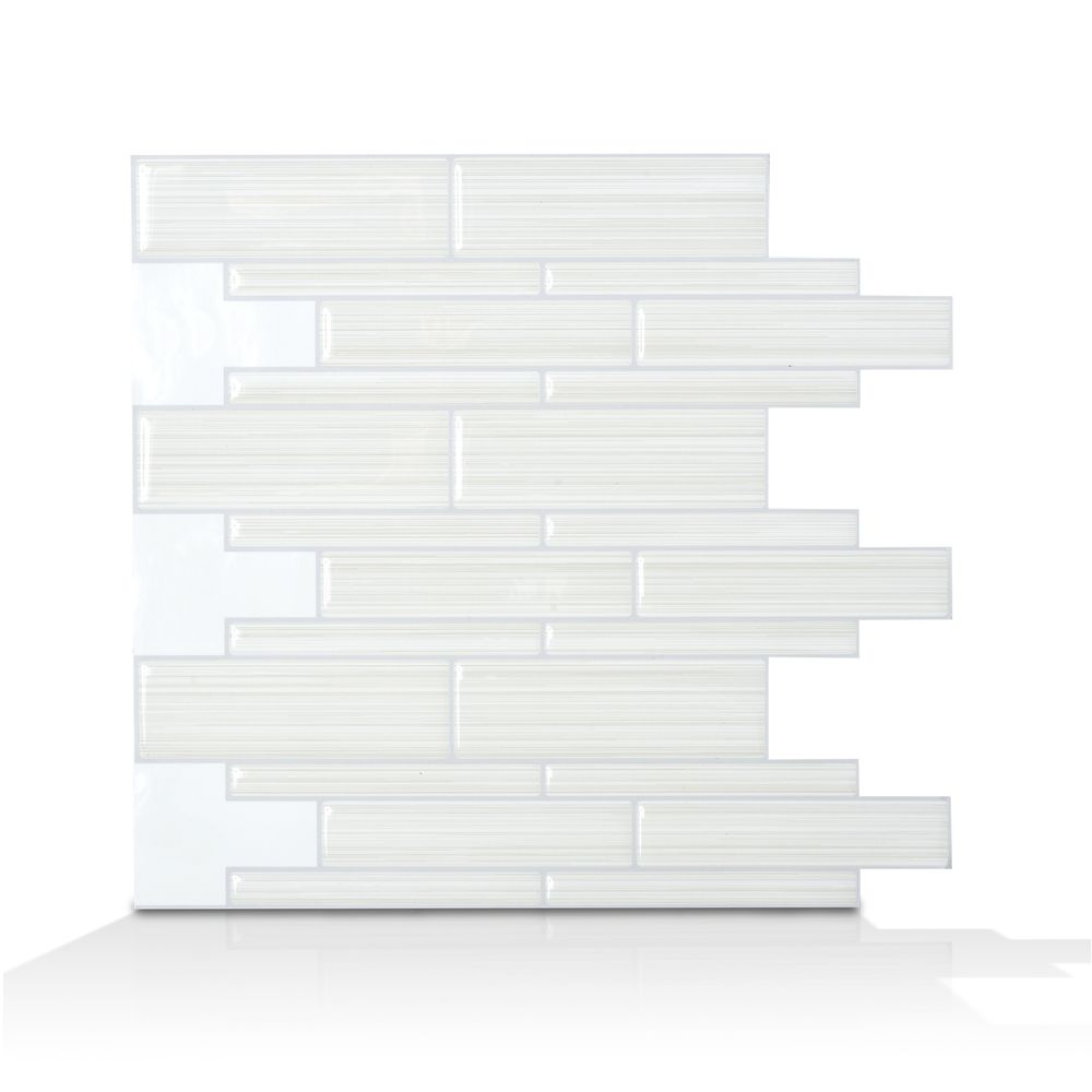 White Peel and Stick, Infinity Blanco Mosaik - 9.75 Inch x 10.5 Inch