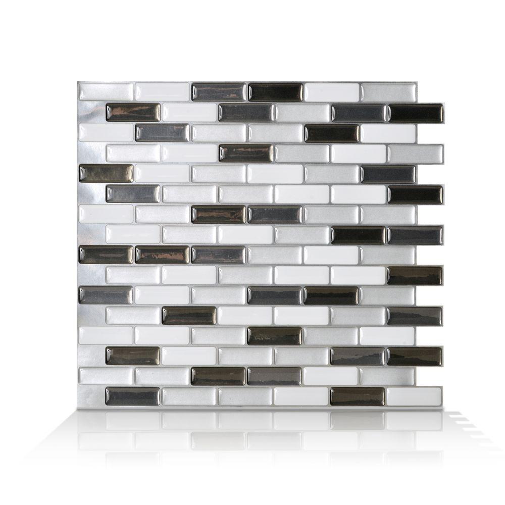 Peel and Stick, Murano Metallik Mosaik - 9.13 Inch x 10.25 Inch