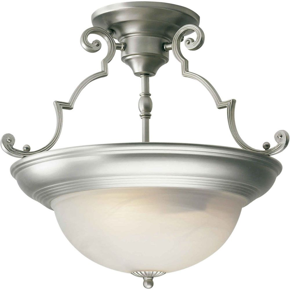 Filament design burton 2 light semi flush mount ceiling light fixture in brushed nickel