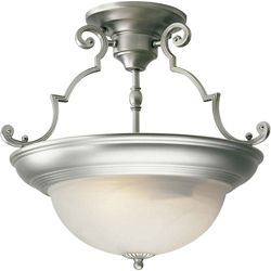 Filament Design Burton 2-Light Semi Flush Mount Ceiling Light Fixture in Brushed Nickel
