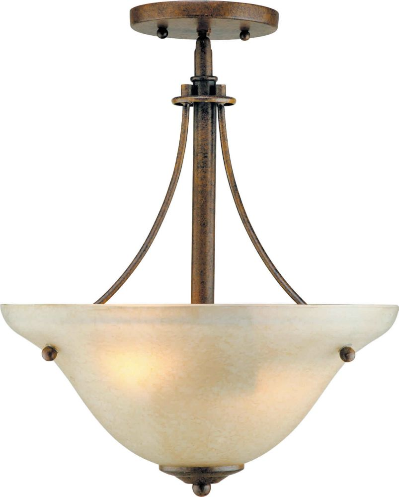 Burton 2 Light Ceiling Chestnut  Incandescent Semi Flush Mount