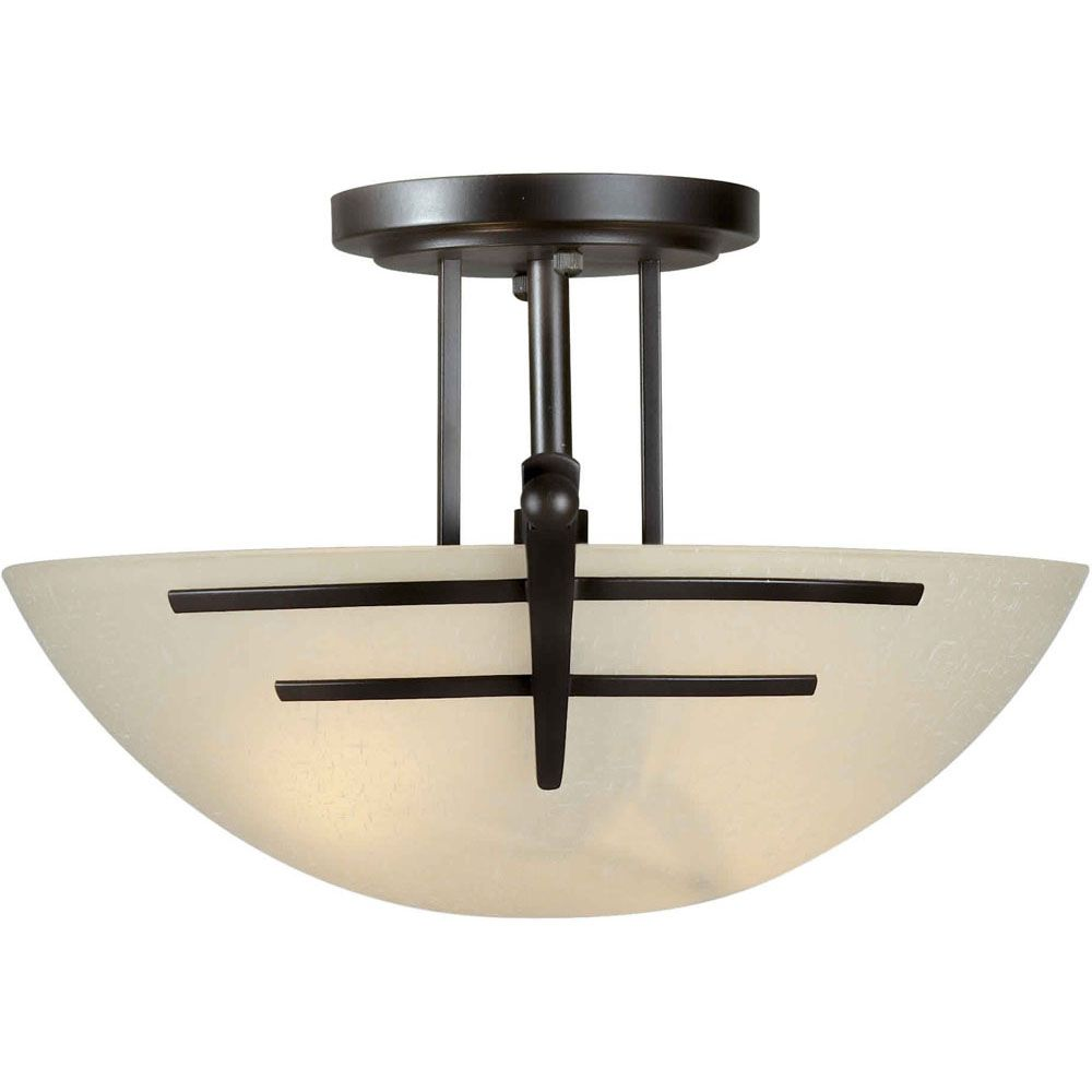 Burton 2-Light Ceiling Antique Bronze Semi Flush Mount