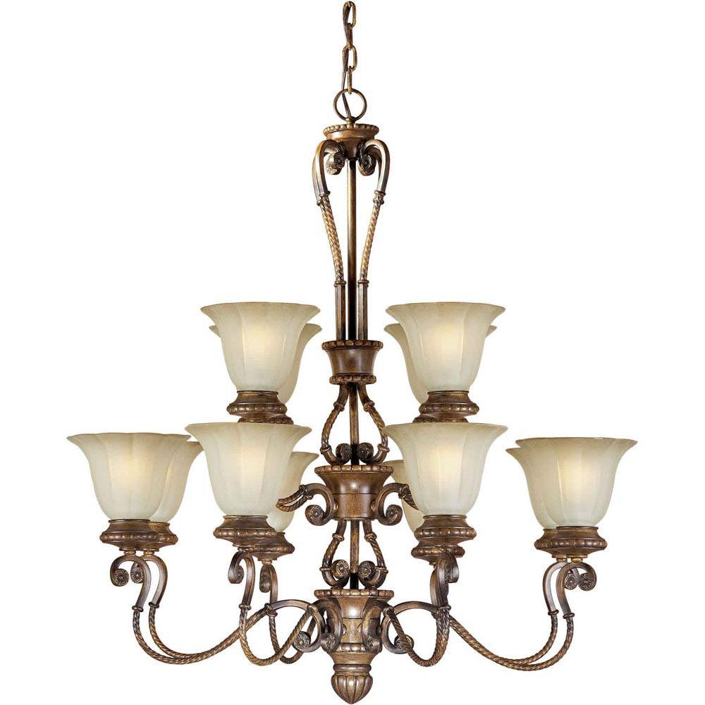 Burton 12-Light Ceiling Rustic Sienna Chandelier