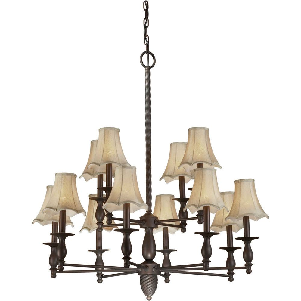 Burton 12 Light Ceiling Antique Bronze  Incandescent Chandelier