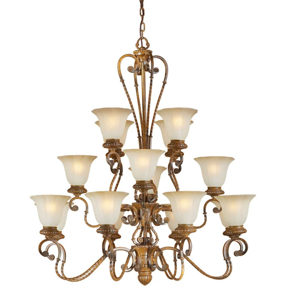 Burton 16 Light Ceiling Rustic Sienna  Incandescent Chandelier
