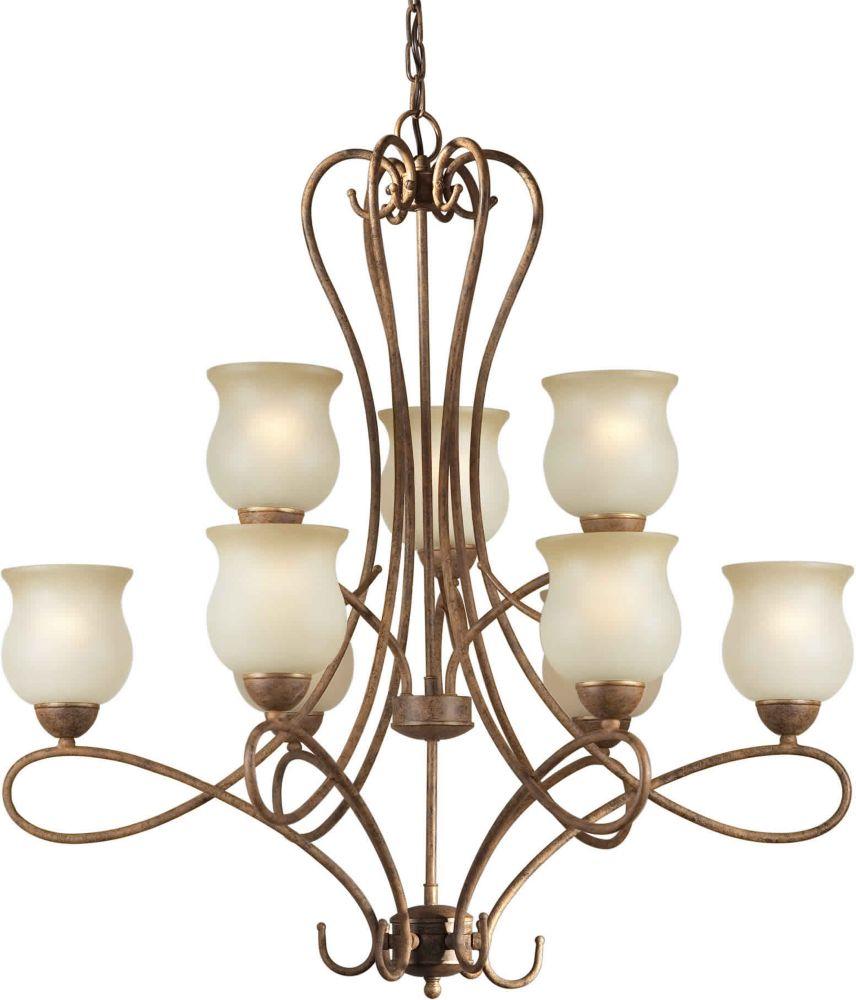 Burton 9-Light Ceiling Chestnut Chandelier