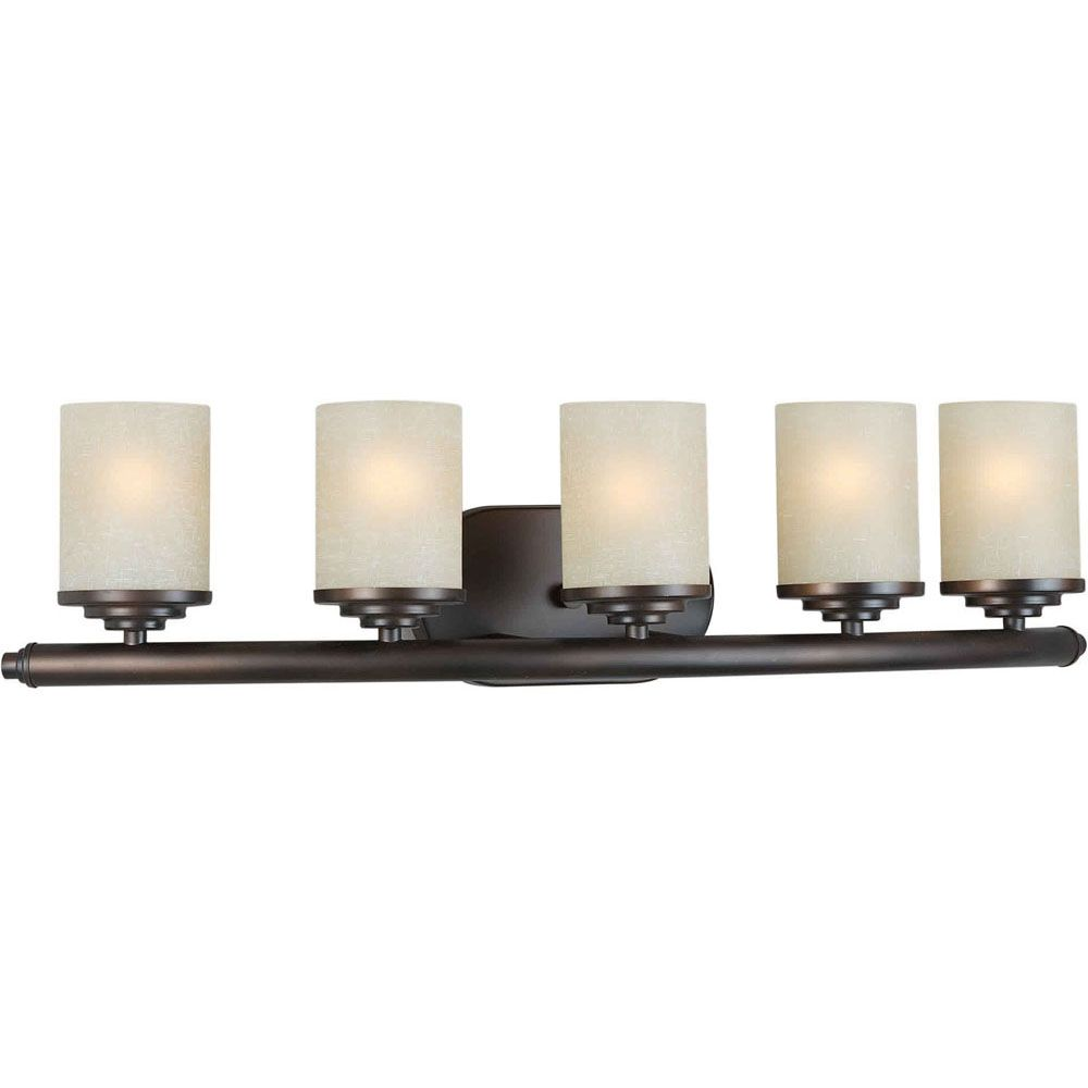 Filament design burton 5 light wall antique bronze for Bathroom vanity lights