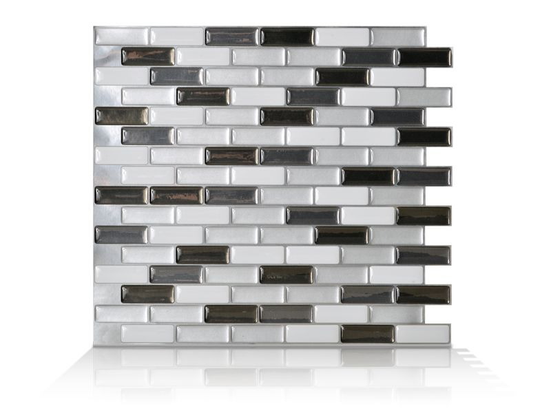 6 - Piece 9.13 Inch x 10.25 Inch Peel and Stick Murano Metallik Mosaik