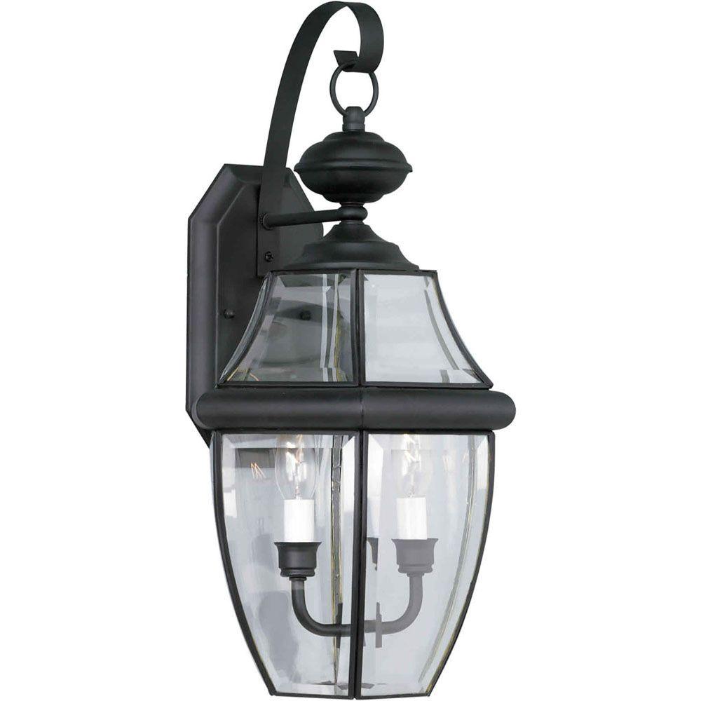 Burton 2 Light Black  Outdoor Incandescent Wall Light